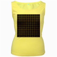 Background Weaving Black Metal Women s Yellow Tank Top