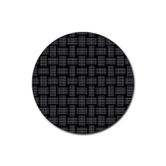 Background Weaving Black Metal Rubber Round Coaster (4 Pack)
