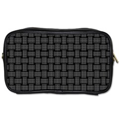 Background Weaving Black Metal Toiletries Bags 2 Side