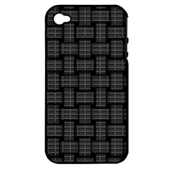 Background Weaving Black Metal Apple Iphone 4/4s Hardshell Case (pc+silicone)