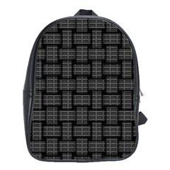 Background Weaving Black Metal School Bag (xl)