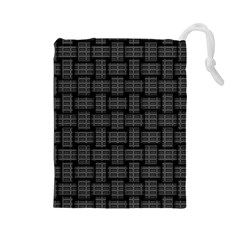 Background Weaving Black Metal Drawstring Pouches (large)