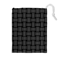 Background Weaving Black Metal Drawstring Pouches (extra Large)
