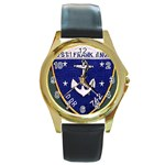 USS Frank Knox Emb Round Gold Metal Watch