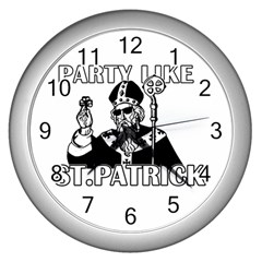 St  Patricks Day  Wall Clocks (silver)  by Valentinaart