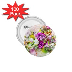 Flowers Bouquet Art Nature 1 75  Buttons (100 Pack)