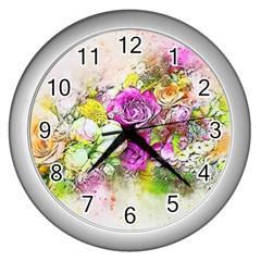 Flowers Bouquet Art Nature Wall Clocks (silver)