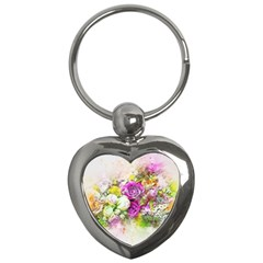 Flowers Bouquet Art Nature Key Chains (heart)