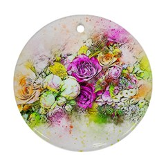 Flowers Bouquet Art Nature Round Ornament (two Sides)