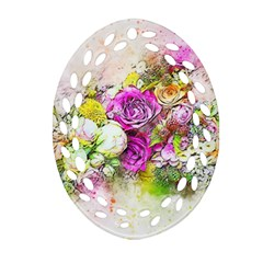 Flowers Bouquet Art Nature Oval Filigree Ornament (two Sides) by Nexatart
