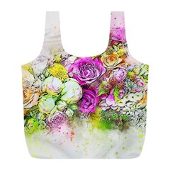 Flowers Bouquet Art Nature Full Print Recycle Bags (l)