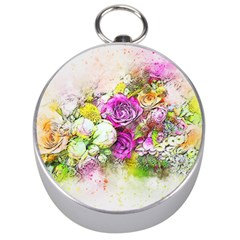 Flowers Bouquet Art Nature Silver Compasses