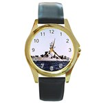 USS Huse Pic Round Gold Metal Watch