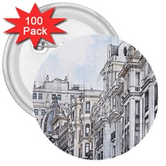 Architecture Building Design 3  Buttons (100 Pack)