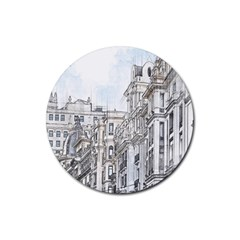 Architecture Building Design Rubber Coaster (round)