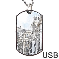 Architecture Building Design Dog Tag Usb Flash (two Sides) by Nexatart