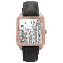 Architecture Building Design Rose Gold Leather Watch