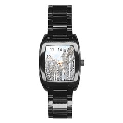 Architecture Building Design Stainless Steel Barrel Watch