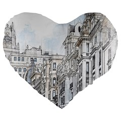 Architecture Building Design Large 19  Premium Flano Heart Shape Cushions
