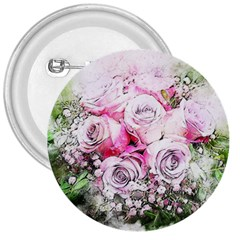 Flowers Bouquet Art Nature 3  Buttons