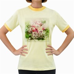 Flowers Bouquet Art Nature Women s Fitted Ringer T Shirts