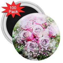 Flowers Bouquet Art Nature 3  Magnets (100 Pack)