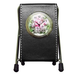 Flowers Bouquet Art Nature Pen Holder Desk Clocks