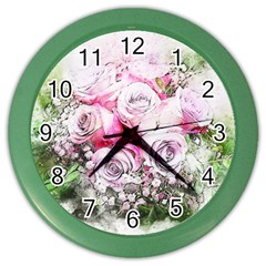 Flowers Bouquet Art Nature Color Wall Clocks
