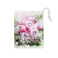 Flowers Bouquet Art Nature Drawstring Pouches (medium)