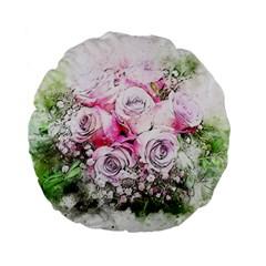 Flowers Bouquet Art Nature Standard 15  Premium Flano Round Cushions