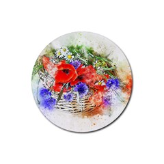 Flowers Bouquet Art Nature Rubber Round Coaster (4 Pack)