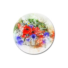 Flowers Bouquet Art Nature Magnet 3  (round)
