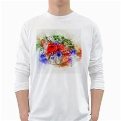 Flowers Bouquet Art Nature White Long Sleeve T Shirts