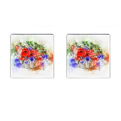 Flowers Bouquet Art Nature Cufflinks (square)