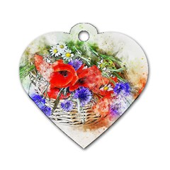 Flowers Bouquet Art Nature Dog Tag Heart (two Sides)