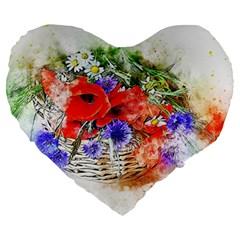 Flowers Bouquet Art Nature Large 19  Premium Heart Shape Cushions