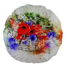 Flowers Bouquet Art Nature Large 18  Premium Flano Round Cushions