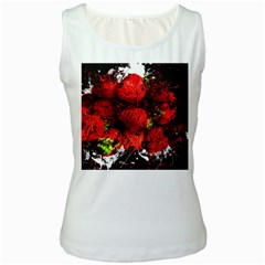 Strawberry Fruit Food Art Abstract Women s White Tank Top