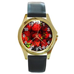 Strawberry Fruit Food Art Abstract Round Gold Metal Watch