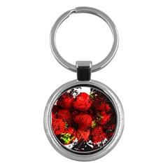 Strawberry Fruit Food Art Abstract Key Chains (round)