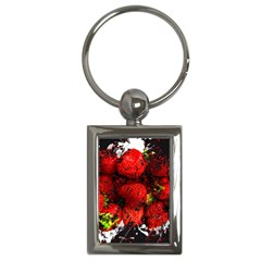 Strawberry Fruit Food Art Abstract Key Chains (rectangle)