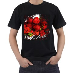 Strawberry Fruit Food Art Abstract Men s T Shirt (black) (two Sided)