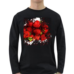 Strawberry Fruit Food Art Abstract Long Sleeve Dark T Shirts