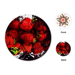 Strawberry Fruit Food Art Abstract Playing Cards (round)