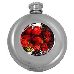 Strawberry Fruit Food Art Abstract Round Hip Flask (5 Oz)
