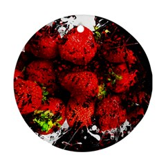 Strawberry Fruit Food Art Abstract Round Ornament (two Sides)