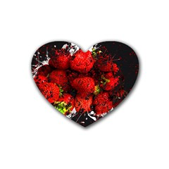 Strawberry Fruit Food Art Abstract Heart Coaster (4 Pack)
