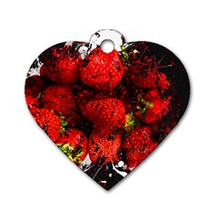 Strawberry Fruit Food Art Abstract Dog Tag Heart (one Side)