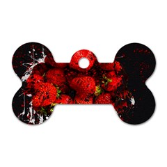 Strawberry Fruit Food Art Abstract Dog Tag Bone (one Side)