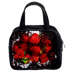 Strawberry Fruit Food Art Abstract Classic Handbags (2 Sides)